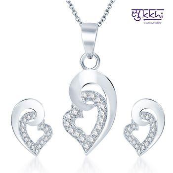 Sukkhi Excellent Rodium plated CZ pendants Set