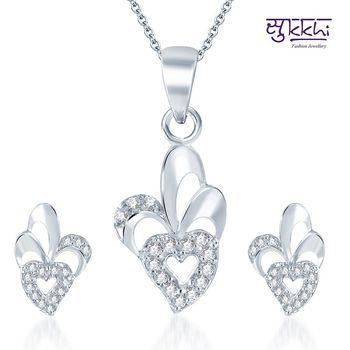 Sukkhi Trendy Rodium plated CZ pendants Set