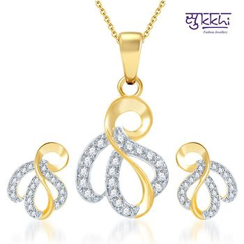 Sukkhi Incredible Gold and Rhodium Plated CZ pendants Set