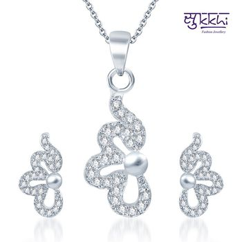 Sukkhi Lavish Rodium plated CZ pendants Set