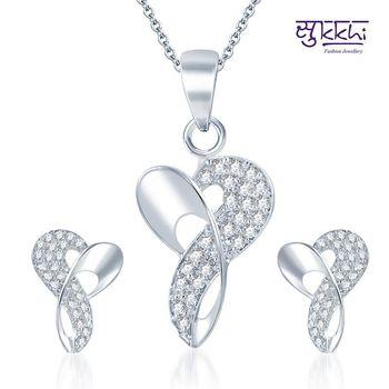 Sukkhi Beguiling Rodium plated CZ pendants Set