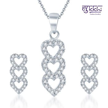 Sukkhi Attractive Rodium plated CZ pendants Set