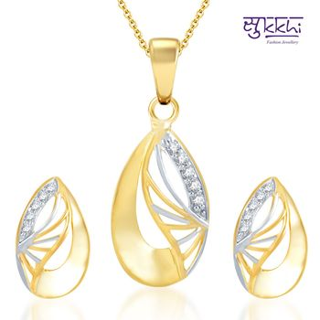Sukkhi Indian Wedding Gold and Rhodium Plated CZ pendants Set