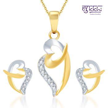 Sukkhi Stylish Gold and Rhodium Plated CZ pendants Set