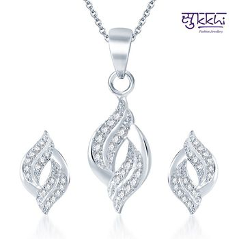 Sukkhi Marvelous Rodium plated CZ pendants Set