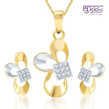 Sukkhi Estonish Gold and Rhodium Plated CZ pendants Set