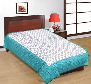 e1df88c3cab Jaipuri Blue and White Color Designer Print Pure Cotton Single Bedsheet -  PRATEEK RETAIL - 628875