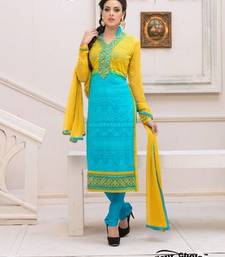 Buy Blue embroidered Pure Chiffon unstitched salwar dress-material online
