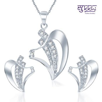 Sukkhi Fascinating Rodium plated CZ pendants Set