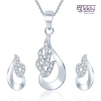 Sukkhi Delightful Rodium plated CZ pendants Set