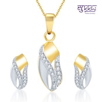 Sukkhi Ritzzy Gold and Rhodium Plated CZ pendants Set