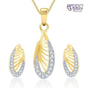 Sukkhi Splendid Gold and Rhodium Plated CZ pendants Set