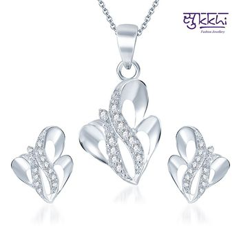 Sukkhi Gleaming Rodium plated CZ pendants Set