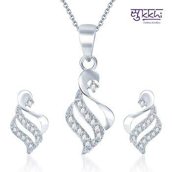 Sukkhi Bewitching Rodium plated CZ pendants Set