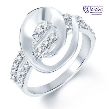 Sukkhi Beguilling Classy Rodium plated CZ Studded Ring