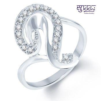 Sukkhi Alluring Rodium plated CZ Studded Ring