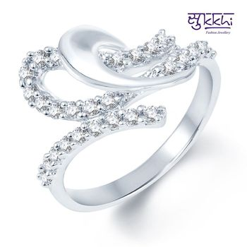 Sukkhi Pleasing Rodium plated CZ Studded Ring