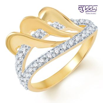 Sukkhi Ritzzy Gold and Rhodium Plated CZ Ring