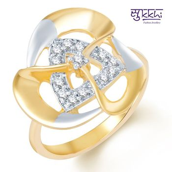 Sukkhi Glorius Gold and Rhodium Plated CZ Ring