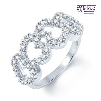 Sukkhi Gleaming Rodium plated CZ Studded Ring