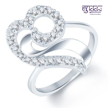 Sukkhi Classy Rodium plated CZ Studded Ring