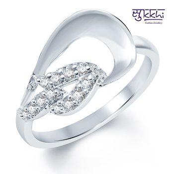 Sukkhi Marvellous Rodium plated CZ Studded Ring