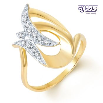Sukkhi Fascinating Gold and Rhodium Plated CZ Ring