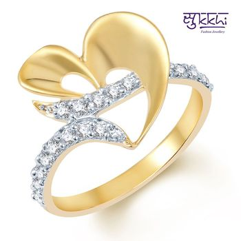 Sukkhi Attractive Gold and Rhodium Plated CZ Ring