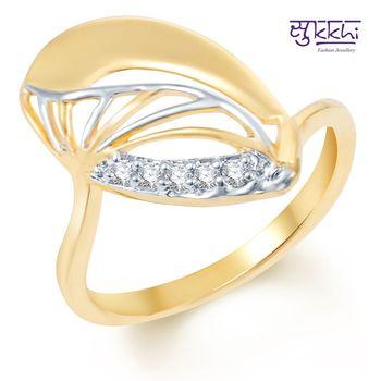 Sukkhi Stylish Gold and Rhodium Plated CZ Ring