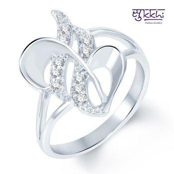 Sukkhi Moddish Rodium plated CZ Studded Ring