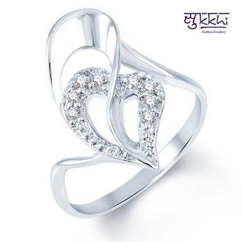Sukkhi Glimmery Rodium plated CZ Studded Ring