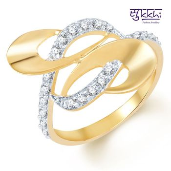 Sukkhi Splendid Gold and Rhodium Plated CZ Ring