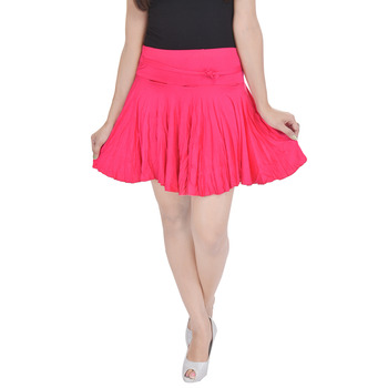 Cotton Lycra Free Size Mini Skirt with Divider