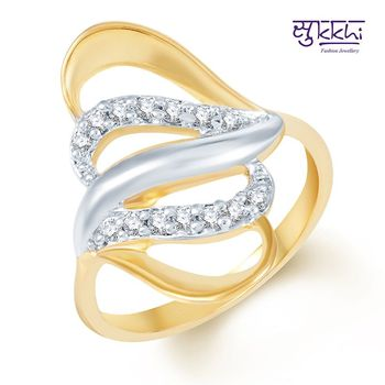 Sukkhi Beguilling Classy Gold and Rhodium Plated CZ Ring