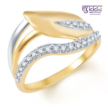 Sukkhi Fancy Gold and Rhodium Plated CZ Ring
