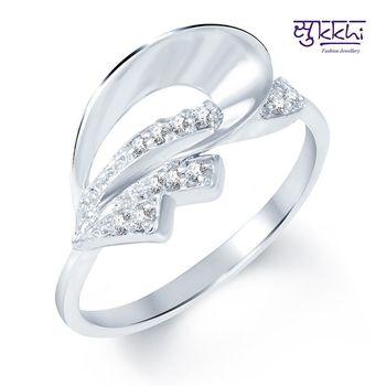 Sukkhi Glistening Rodium plated CZ Studded Ring