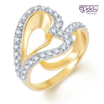 Sukkhi Intricately Crafted Gold and Rhodium Plated CZ Ring