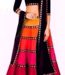 Buy Designer Green, Orange, Pink and Red Bangalore Silk Lehenga With Black Blouse lehenga-choli online