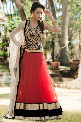 57e79c97e1fb Designer Red , Black and Off White Embroidered Lehenga - ZAHARA - 629652
