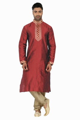 Maroon Kurta Set With Cording All Over And Sripes In The Placket With Cording On The Placket  And Collar