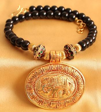 Gorgeous Antique Designer Huge Elephant Pendant Black Necklace