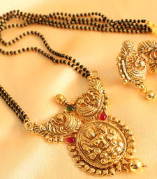 Buy Divine antique kemp-green lakshmi pendant mangal sutra with earrings mangalsutra online