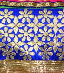 Blue and golden Embroidered cotton Traditional Blouse