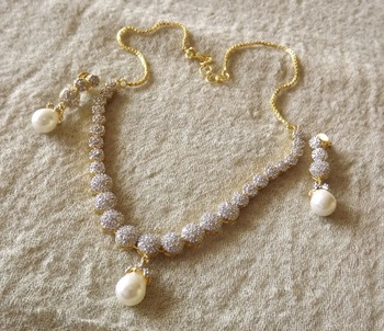 Dazzling Diamond and Pearl Necklace Set