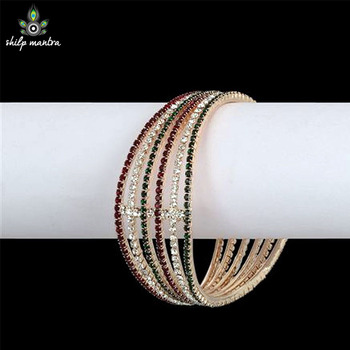 Beautiful Bangles Studded With American Diamonds & Stones