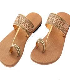 Buy Golden Lace Rexin T Style Slipper flats footwear online