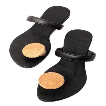 Black Plain Leather Open Slipper flats