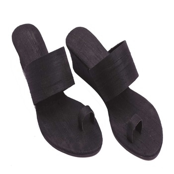 Black Plain Raw silk open Sandal heels