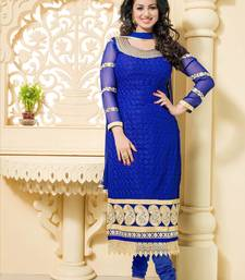Styles Closet Blue embroidered georgette semi stitched salwar with dupatta