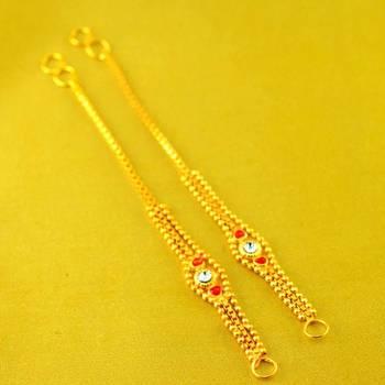 Meenakari gold platted stone ear kan chain